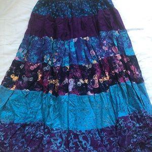 Boho Gypsy Batik Maxi Skirt